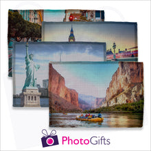 Load image into Gallery viewer, Four individually personalised linen placemats with your own choice of image as produced by Photogifts.co.uk