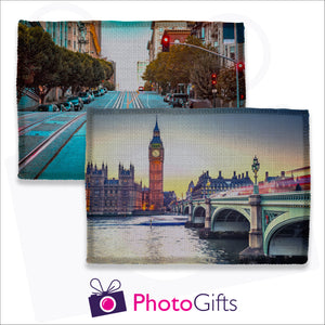 Two individually personalised linen placemats with your own choice of image as produced by Photogifts.co.uk