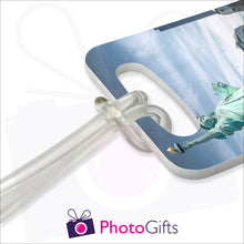 Load image into Gallery viewer, Close up of luggage tags lanyard fitting as produced by Photogifts.co.uk