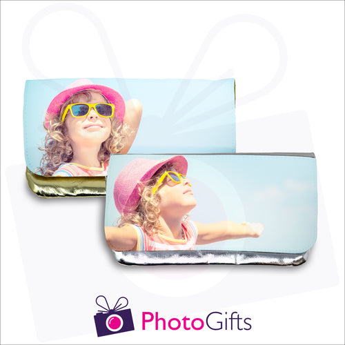 Gold and silver makeup bags with personalised own choice of image on the front flap as produced by Photogifts.co.uk