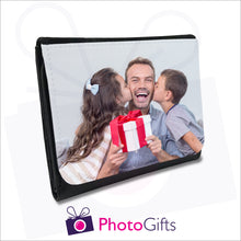 Load image into Gallery viewer, Personalised black faux leather mens wallet with your own choice of image on the front flap as produced by Photogifts.co.uk