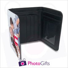 Load image into Gallery viewer, Inside detail of personalised mens faux leather wallet with your own choice of image on the front flap. Wallet shows details of credit card slots, windowed pocket for ID and main notes section as produced by Photogifts.co.uk