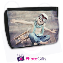 Load image into Gallery viewer, Large black messenger back with personalised own choice of image on the front flap by Photogifts.co.uk