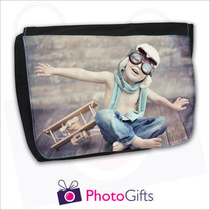 Large black messenger back with personalised own choice of image on the front flap by Photogifts.co.uk