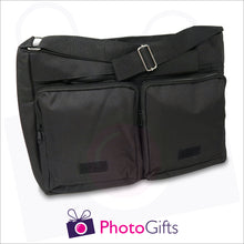 Load image into Gallery viewer, Two zipped compartments and a larger section together with detail of large shoulder strap from black personalised messenger back from Photogifts.co.uk
