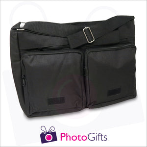 Two zipped compartments and a larger section together with detail of large shoulder strap from black personalised messenger back from Photogifts.co.uk
