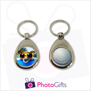 Heavyweight keyring with your own choice of image on one side and a removable magnetic  golf ball marker on the other as presented by Photogifts.co.uk