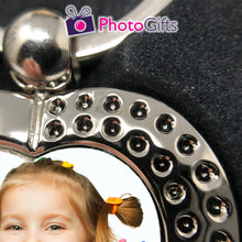Load image into Gallery viewer, Close up picture of heart shaped metal pendant keyring with rhinestones and your own choice of image in the centre as produced by Photogifts.co.uk