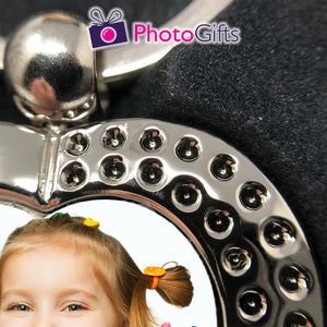 Close up picture of heart shaped metal pendant keyring with rhinestones and your own choice of image in the centre as produced by Photogifts.co.uk