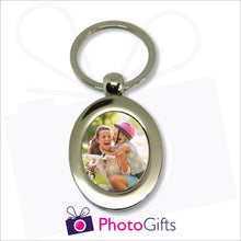 Load image into Gallery viewer, Metal pendant keyring in the shape of an oval with your own image in the centre of the keyring as produced by Photogifts.co.uk