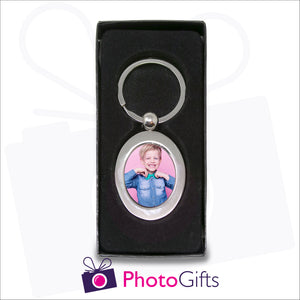 Oval shaped metal pendant keyring in presentation box which has a centre section that can be personalised with your own choice of image as produced by Photogifts.co.uk