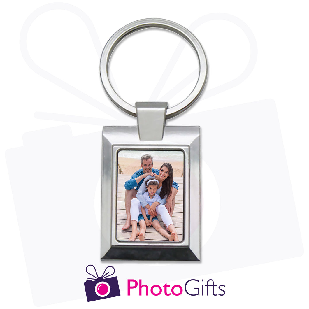 Metal pendant keyring in a rectangular shape with the centre section being customised with your own choice of image as produced by Photogifts.co.uk