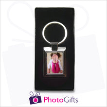 Load image into Gallery viewer, Metal rectangular boxed pendant keyring with your own choice of image in the centre as produced by Photogifts.co.uk