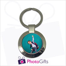 Load image into Gallery viewer, Round metal pendant keyring with your own choice of image in the centre as produced by Photogifts.co.uk