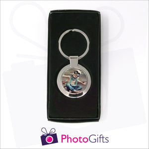Round metal pendant keyring in presentation box with your own choice of image in the centre as produced by Photogifts.co.uk