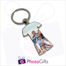 Load image into Gallery viewer, Metal sports strip shaped keyring with your own choice of image in the shape of the keyring as produced by Photogifts.co.uk