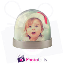 Load image into Gallery viewer, Personalised metallic base snow globe as produced by Photogifts.co.uk