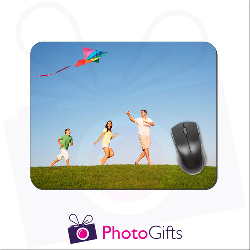 Rectangular shaped mousemat that is personalised with your own choice of image as produced by Photogifts.co.uk