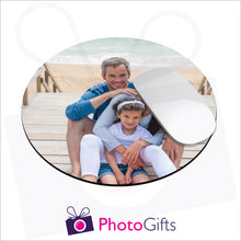 Load image into Gallery viewer, Round shaped mousemat that is personalised with your own choice of image as produced by Photogifts.co.uk