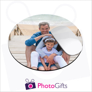 Round shaped mousemat that is personalised with your own choice of image as produced by Photogifts.co.uk