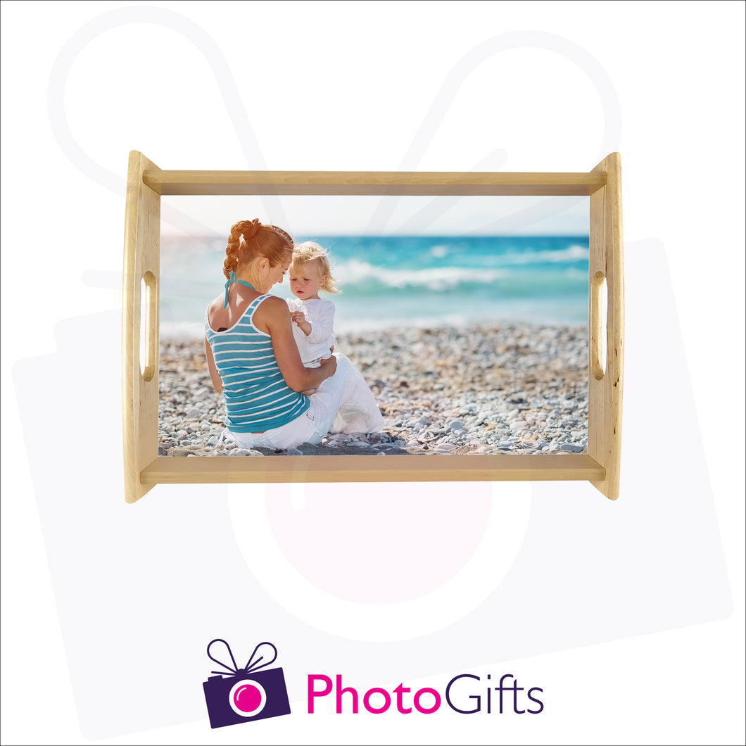 Small natural tray that is personalised with your own choice of image as produced by Photogifts.co.uk