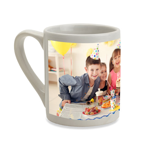 7oz personalised white china mug with your own choice of image on the mug as produced by Photogifts.co.uk