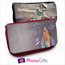 Load image into Gallery viewer, Black and red soft pencil-case that can be personalised with your own image on the front flap as produced by Photogifts.co.uk