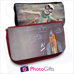 Black and red soft pencil-case that can be personalised with your own image on the front flap as produced by Photogifts.co.uk