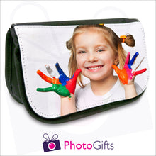 Load image into Gallery viewer, Soft pencil case in black with your own choice of image on the front flap as produced by Photogifts.co.uk