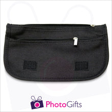 Load image into Gallery viewer, Inside details of black soft personalised pencil case showing the two zipped pockets as produced by Photogifts.co.uk