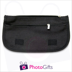 Inside details of black soft personalised pencil case showing the two zipped pockets as produced by Photogifts.co.uk