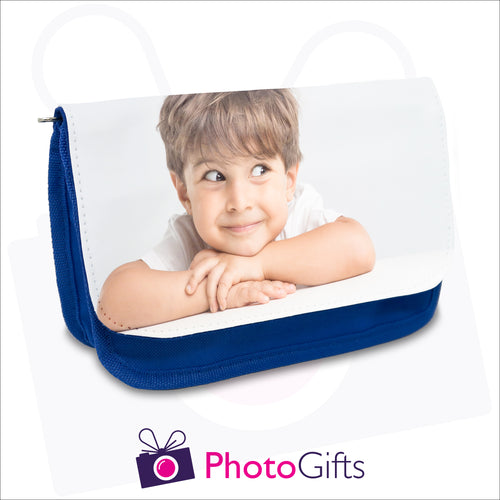 Personalised blue soft pencil case with your own choice of image on the front flap as produced by Photogifts.co.uk
