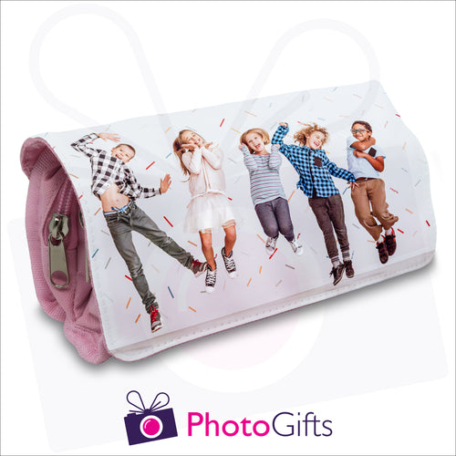 Soft pencil case in pink with your own choice of image on the front flap as produced by Photogifts.co.uk