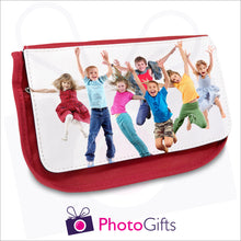 Load image into Gallery viewer, Soft red pencil case with your own choice of image on the front as produced by Photogifts.co.uk