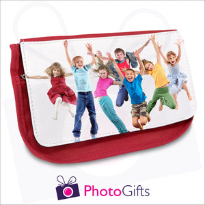 Soft red pencil case with your own choice of image on the front as produced by Photogifts.co.uk