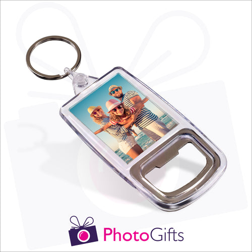 Plastic double sided keyring with a metal bottle opener inbuilt into one end. Your own image is displayed on both sides of the keyring