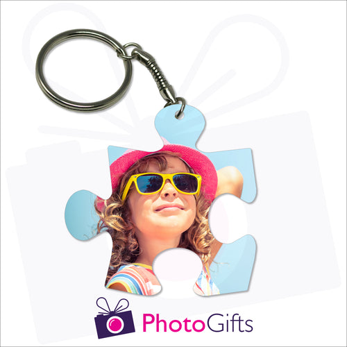 Double sided plastic keyring in the shape of a jigsaw puzzle that has your own choice of picture on both sides as produced by Photogifts.co.uk