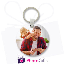 Load image into Gallery viewer, Round shaped tough and durable double sided plastic keyring with your own choice of images printed on both sides as produced by Photogifts.co.uk