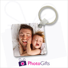 Load image into Gallery viewer, Double sided square durable plastic keyring with your own choice of image printed on both sides as produced by Photogifts.co.uk