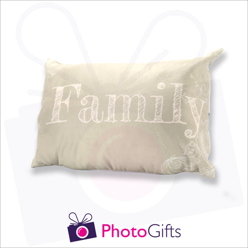Personalised rectangular cushion with your own choice of image on the cushion as produced by Photogifts.co.uk