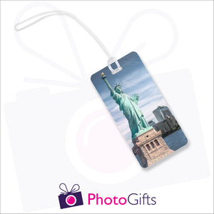 Personalised rectangular luggage tag with your own choice of image as produced by Photogifts.co.uk