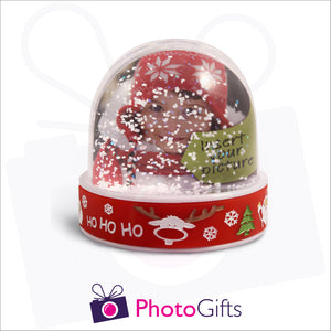 Personalised red Christmas base snow globe as produced by Photogifts.co.uk