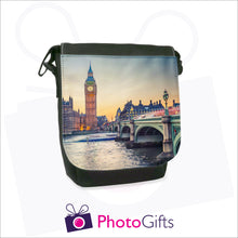 Load image into Gallery viewer, Personalised mini reporter bag in black with your own choice of image on the front flap as produced by Photogifts.co.uk