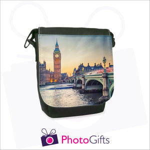 Personalised mini reporter bag in black with your own choice of image on the front flap as produced by Photogifts.co.uk