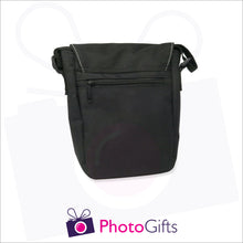 Load image into Gallery viewer, Back view of personalised mini reporter bag in black with your own choice of image on the front flap as produced by Photogifts.co.uk