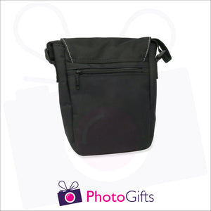 Back view of personalised mini reporter bag in black with your own choice of image on the front flap as produced by Photogifts.co.uk