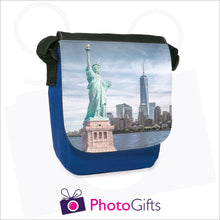 Load image into Gallery viewer, Personalised mini reporter bag in blue with your own choice of image on the front flap as produced by Photogifts.co.uk
