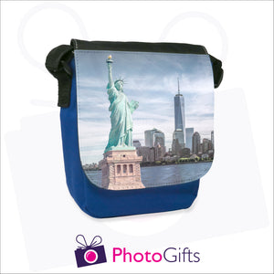 Personalised mini reporter bag in blue with your own choice of image on the front flap as produced by Photogifts.co.uk