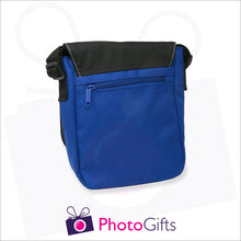 Load image into Gallery viewer, Back view of personalised mini reporter bag in blue with your own choice of image on the front flap as produced by Photogifts.co.uk