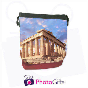 Personalised mini reporter bag in red with your own choice of image on the front flap as produced by Photogifts.co.uk
